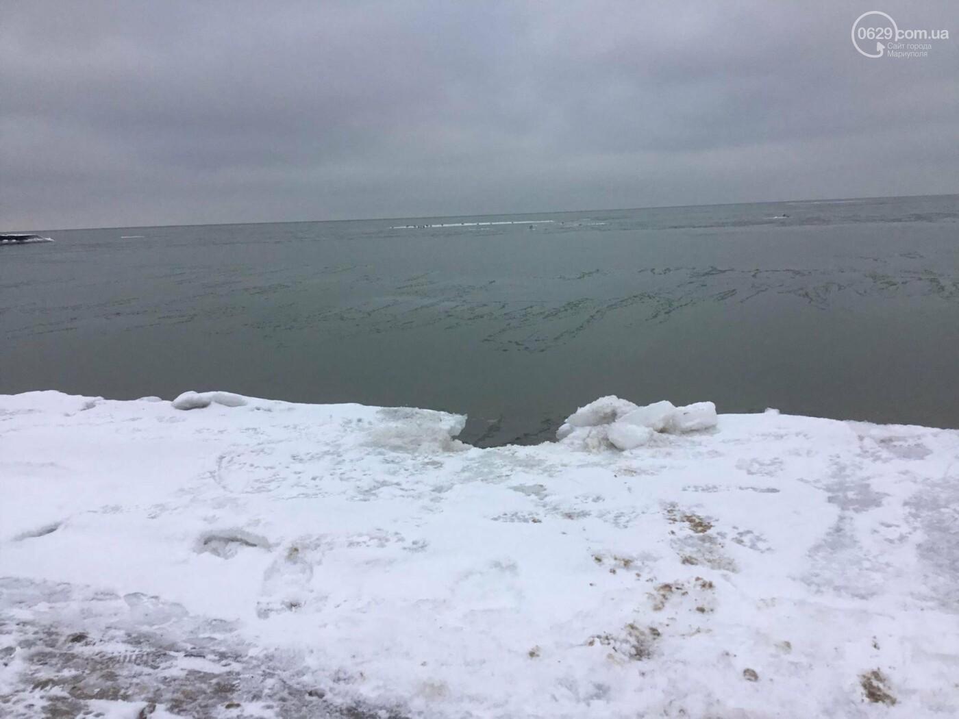 В Мариуполе на море появилась ледяная корка (Фотофакт), фото-7