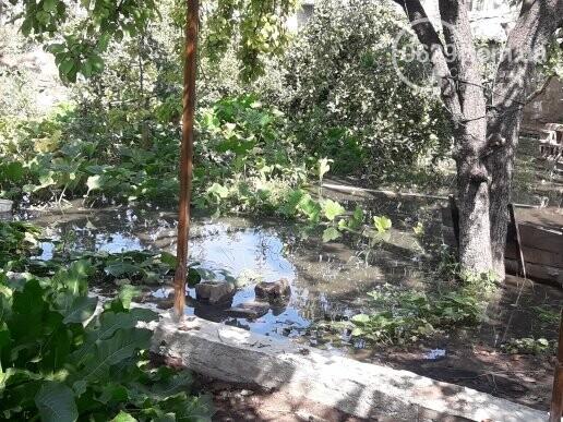 Опять прорвало! В Мариуполе канализация затопила гаражи, дворы и дома, - ФОТО, фото-1