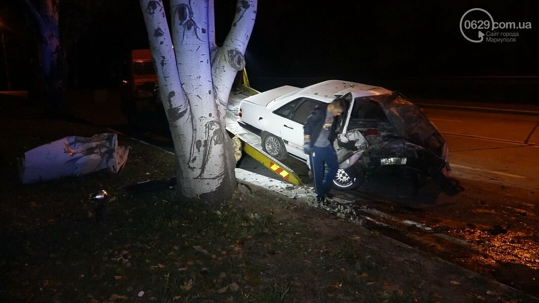 На выезде из Мариуполя автомобиль влетел в дерево, - ФОТО, фото-1