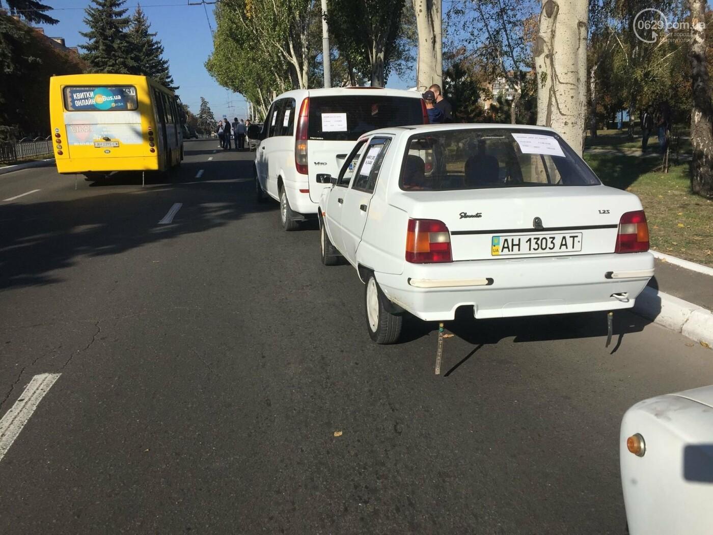 Автомобилисты в центре Мариуполя сигналили против высоких цен на топливо, - ФОТО, ВИДЕО, фото-4