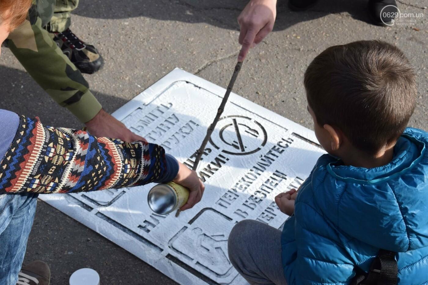 В Мариуполе общественники и патрульные полицейские украшают город необычными трафаретами, - ФОТО, ВИДЕО, фото-2
