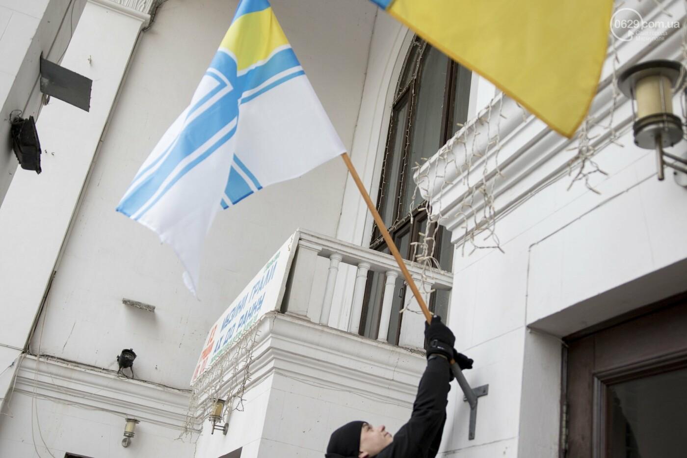 В Мариуполе подняли флаг военно-морских сил Украины,- ФОТО, ВИДЕО, фото-5