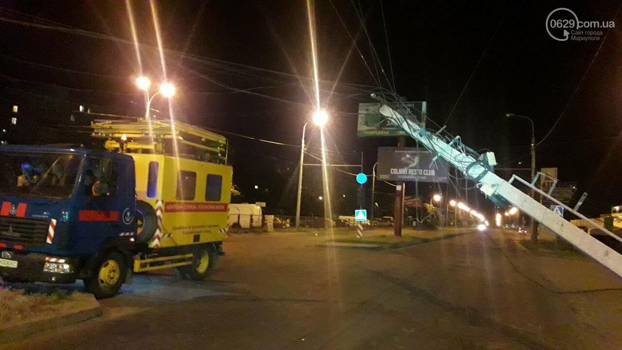 В Мариуполе троллейбус завалил столб на ул. Куприна, - ФОТО, фото-1