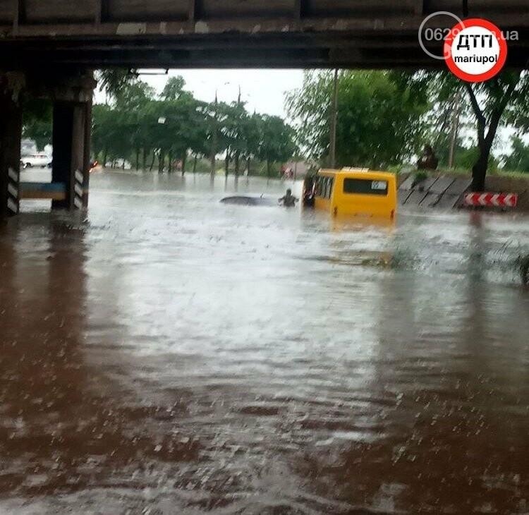 На Мариуполь обрушился ливень: транспорт плыл по дорогам,- ФОТО, фото-2