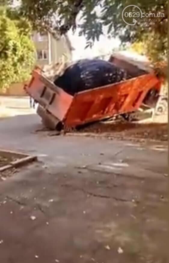 В Мариуполе грузовик с асфальтом провалился под асфальт, - ФОТОФАКТ, фото-2