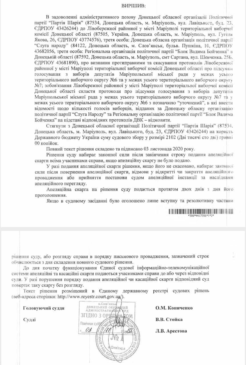 Выборы состоялись? Суд отказал ОПЗЖ в ее претензиях к Мариупольской ТИК, - ДОКУМЕНТ, фото-3