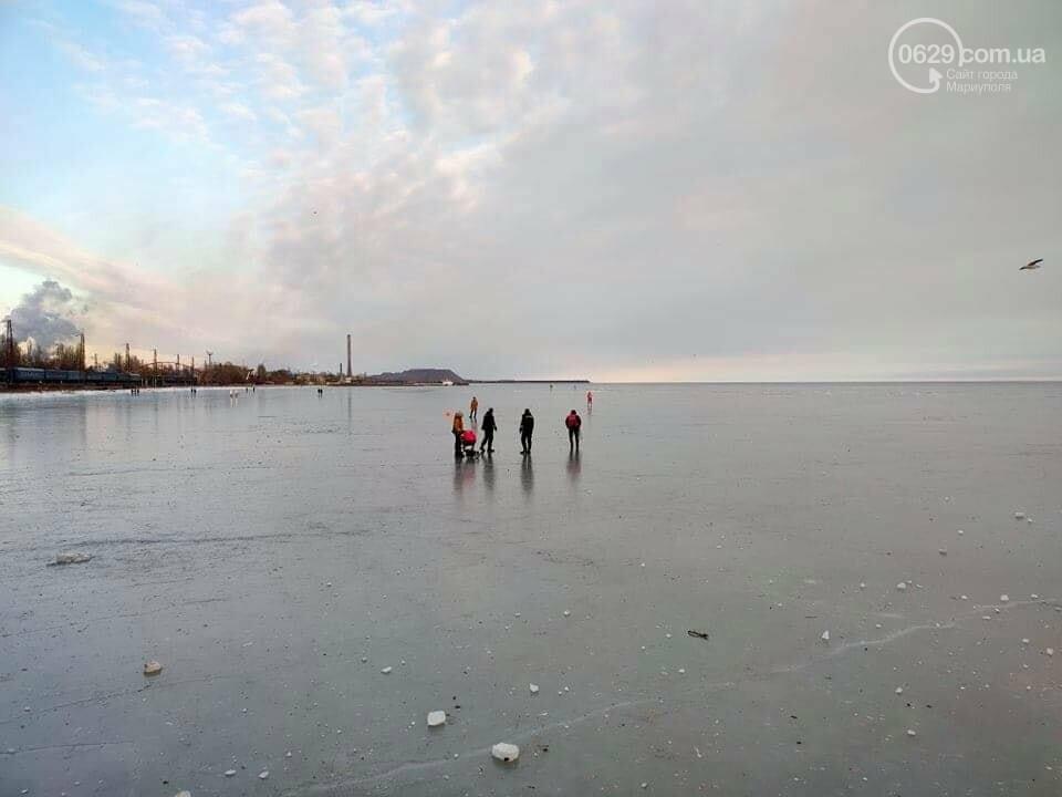 Мариупольцы выезжают на лед на коньках, велосипедах и даже с колясками,- ФОТО, фото-5