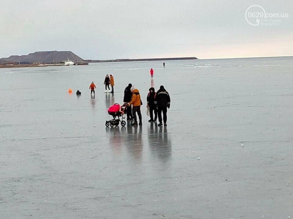 Мариупольцы выезжают на лед на коньках, велосипедах и даже с колясками,- ФОТО, фото-1