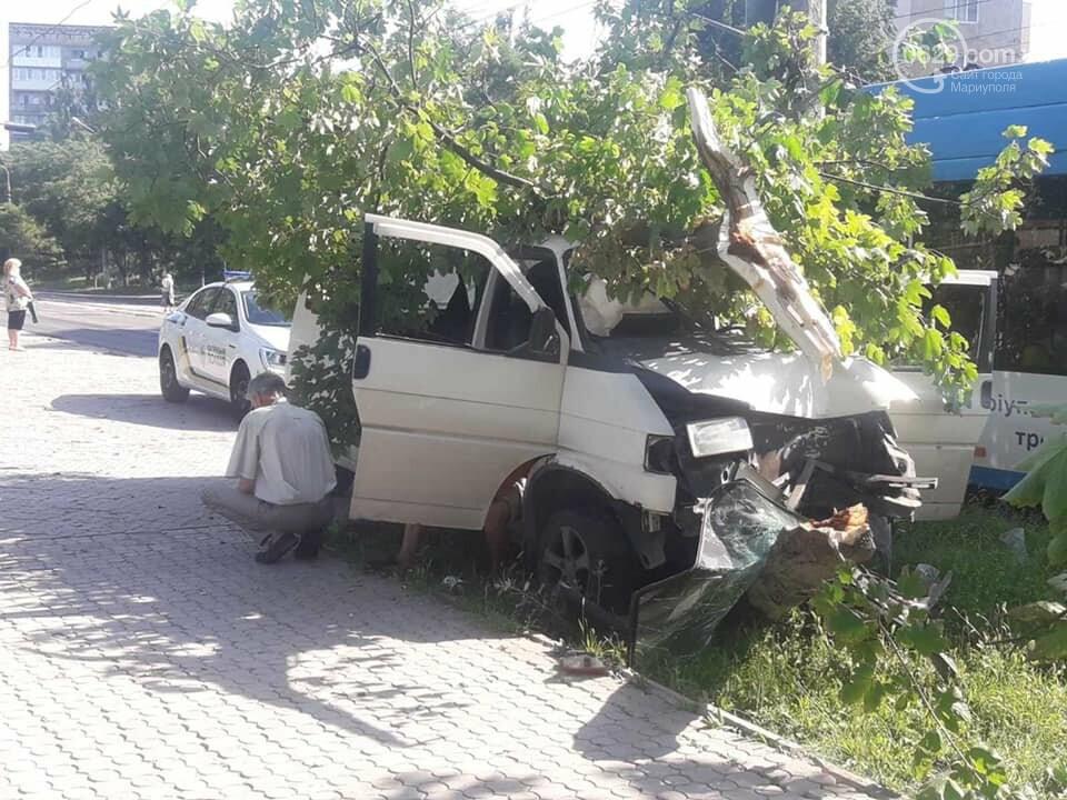 В Мариуполе водитель микроавтобуса влетел в дерево. Пострадал пассажир, - ФОТО, фото-1