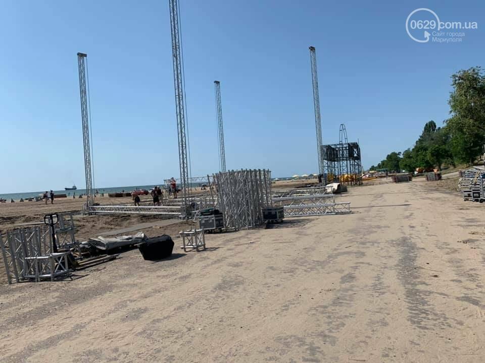 На мариупольском пляже началась подготовка к музыкальному фестивалю, - ФОТО, ВИДЕО, фото-3