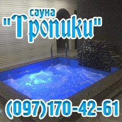 """Логотип - Сауна """"Тропики"""" - обновленная сауна после капитального ремонта! Джакузи, бассейн"""
