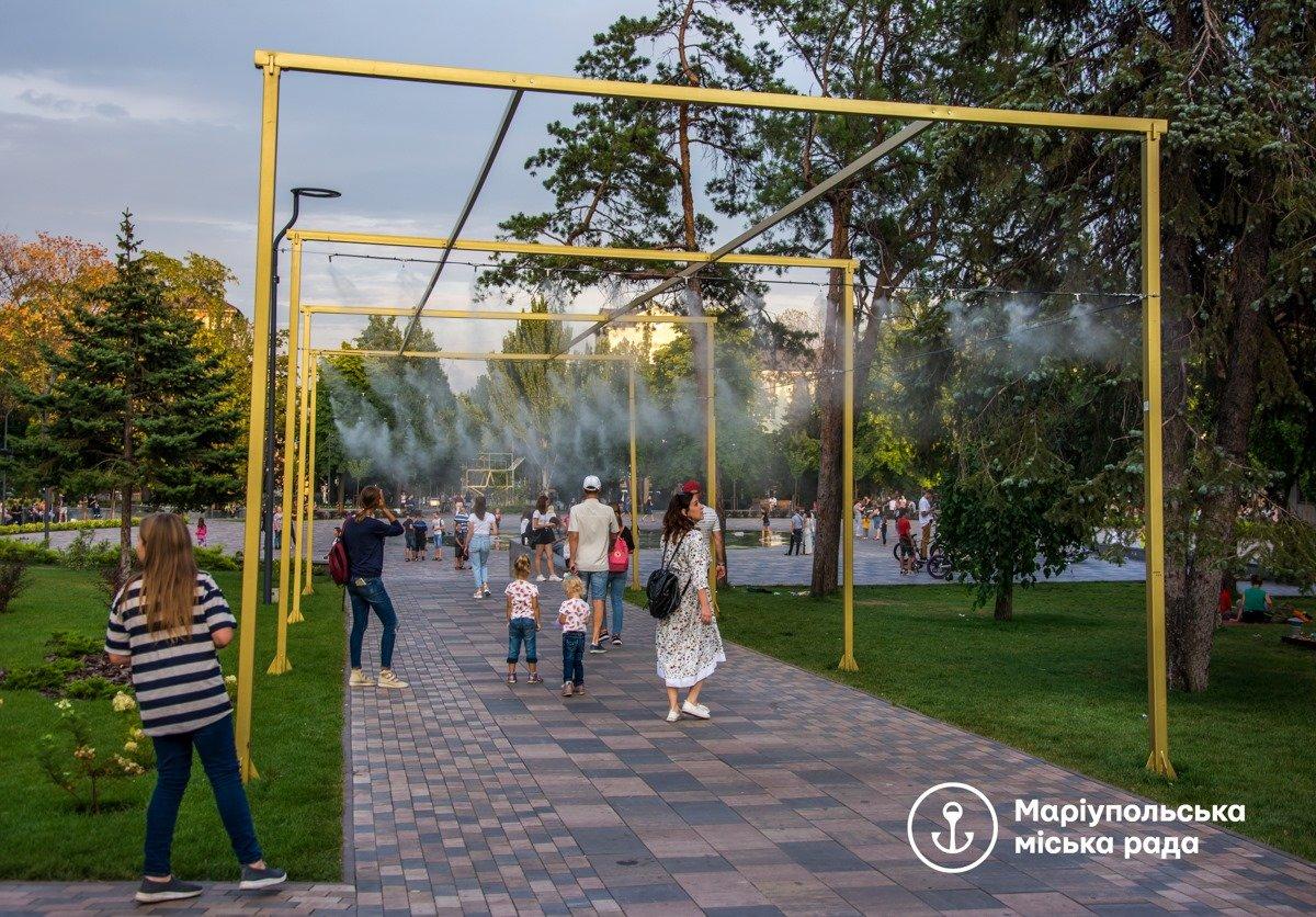 """Водяной туман: в центре Мариуполя установили """"мокрые"""" арки, - ФОТО, фото-1"""