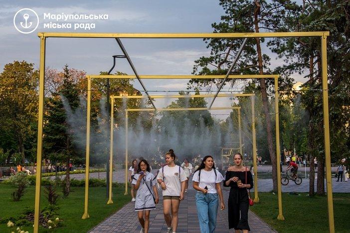 """Водяной туман: в центре Мариуполя установили """"мокрые"""" арки, - ФОТО, фото-2"""