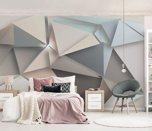 3Д фотообои с геометрическим узором в спальню
