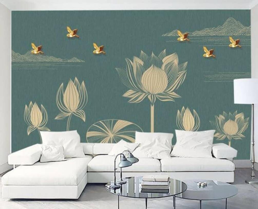 Фотообои с птицами и цветами в гостиную