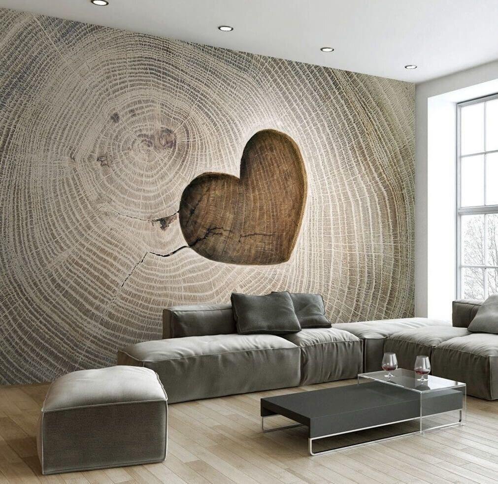 3Д фотообои в гостиной на стене за диваном