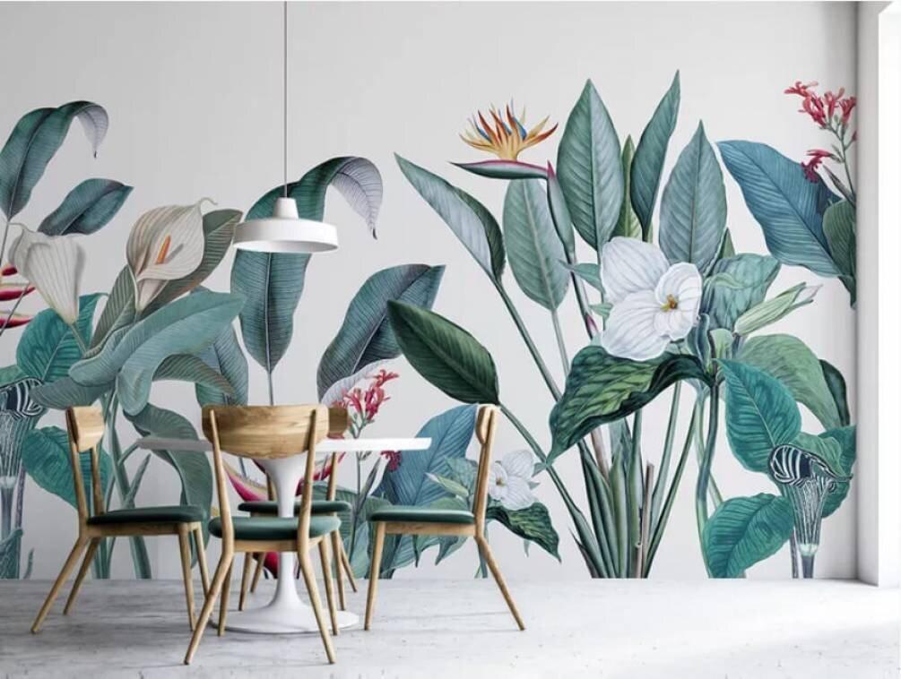 Фотообои с изображением тропических цветов и листьев