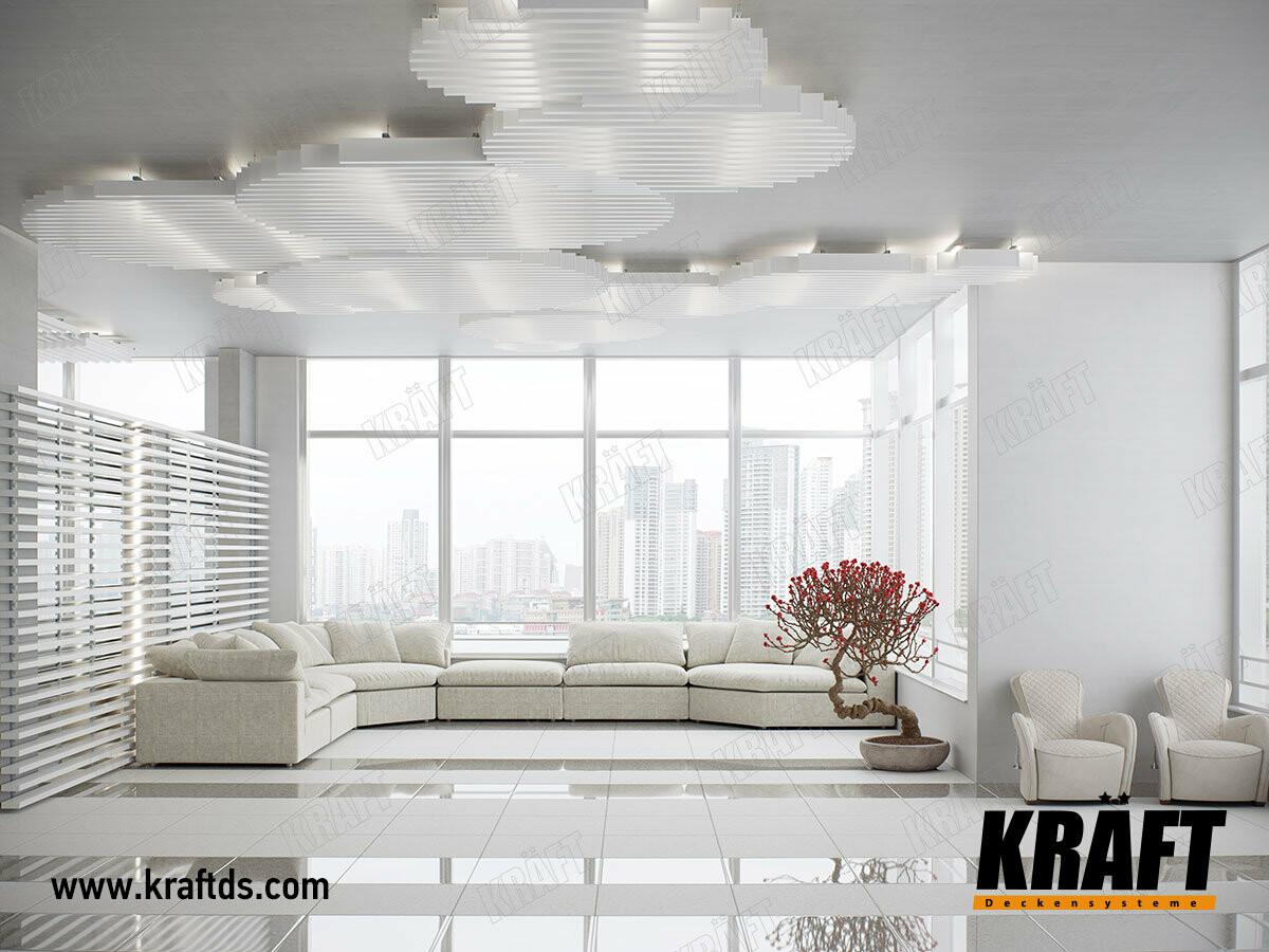 Дизайнерский подвесной потолок в виде островков из кубообразной рейки KRAFT в интерьере