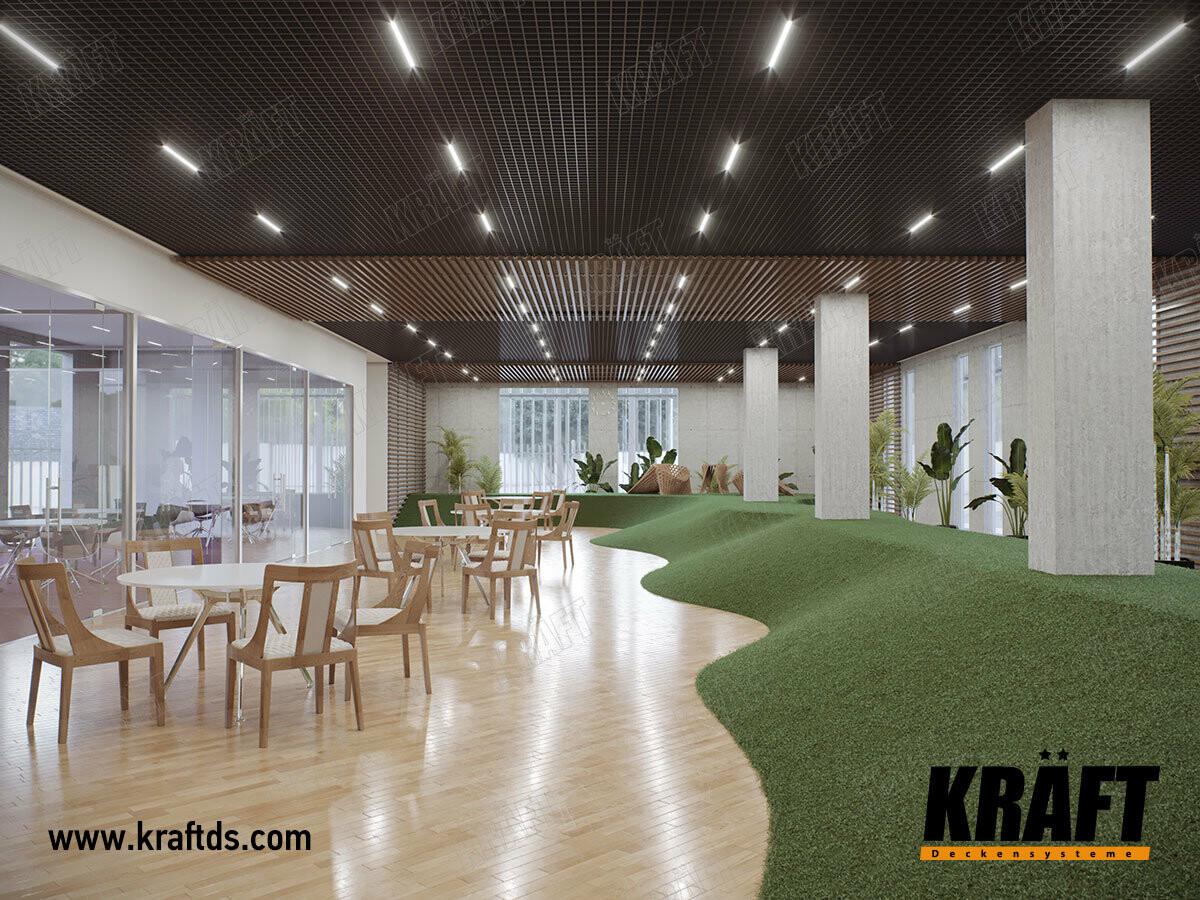 Комбинированный подвесной потолок из кубообразной рейки и кассетного потолка грильято GLK KRAFT