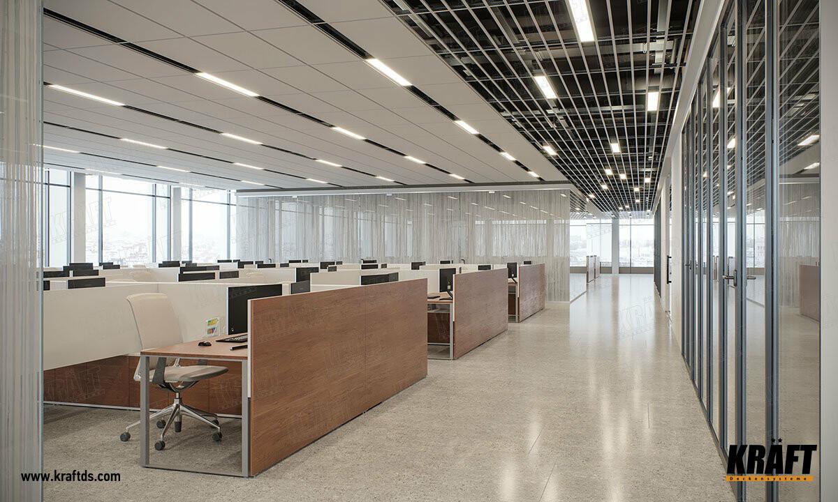 Декоративные акустические подвесные потолки на базе Т-профиля KRAFT Fortis
