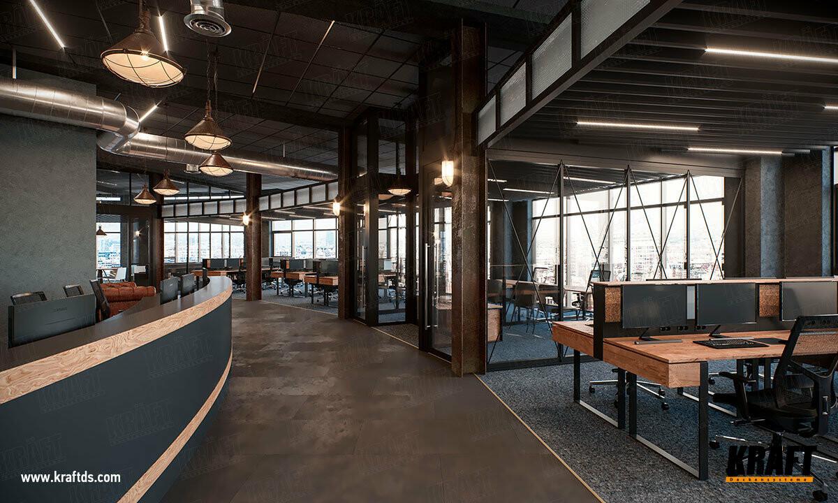 Подвесные потолки КРАФТ на Т-профиле Fortis и экранный потолок на базе пластинчатой рейки в интерьере